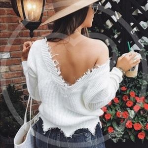 Sweaters - CHARLA Distressed Low Back Sweater